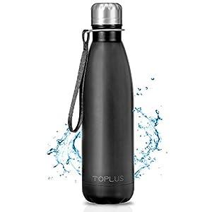 TOPLUS Botella de Agua Acero Inoxidable 304 Termo - 500ml, Termo Sin BPA Ecológica Reutilizable, Botella Termica con Pajita y Filtro para Niños & Adultos, Deporte(Black)