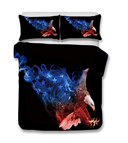N/S Super King bed Duvet Covers Set Blue Flame Eagle Brushed Microfiber Bedding Set Bed Duvet Cover with Pillowcases-For Adult Children's Bedroom 86.61 x 102.36 inch
