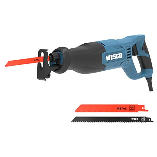 Säbelsäge, WESCO 800W Professionale Universalsäge, 0 bis 2700 SPM, Schnitttiefe: 115 mm (Holz), 10 mm (Strahl), Kunststoff (15mm), 20 mm Schnitthub mit 2 Sägeblätter, WS3657.1