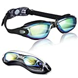 EMIUP Swimming Goggles, No Leaking Anti Fog UV Protection Mirrored Swim Goggles with Protection Case for Adult Men Women Youth Kids, Black with Colorful Mirrored Lenses