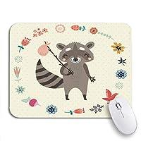 ROSECNY 可愛いマウスパッド ブラウン秋かわいいアライグマ緑の森子供気まぐれな動物滑り止めゴムバッキングコンピューターマウスパッド用ノートブックマウスマット
