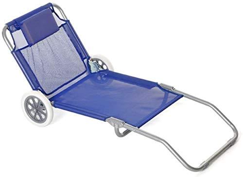Spiaggina Trolley con ruote sedia da spiaggia con ruote schienale regolabile e poggiatesta imbottito