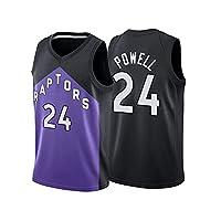 Powell Basketball Jersey男性、ラプター24#アダルトジャージ通気性の速い乾燥ノースリーブポリエステルトップ屋外スポーツファッショナブルなTシャツ(S-2XL) M
