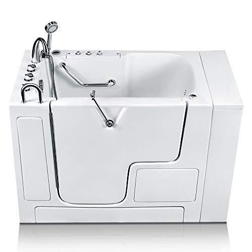Energy Tubs Wheelchair Accessible Walk-in Bathtub 32 in. x 52 in. Luxury Whirlpool Massage and Faucet Set (White) (Left Drain)