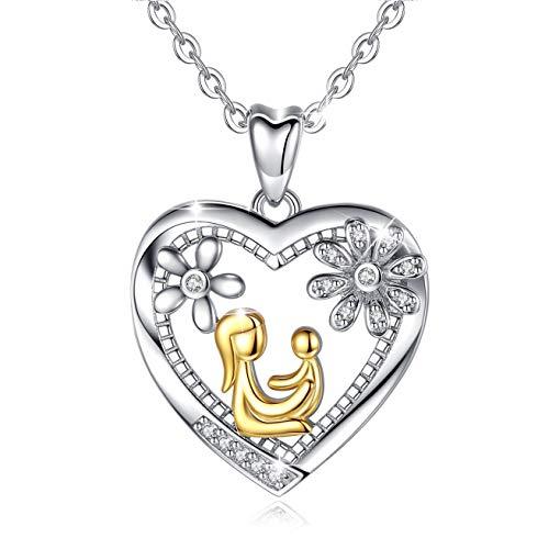 AEONSLOVE Sterling Silber 3A Zirkonia Herz Anhänger Halskette Schmuck, Liebe zwischen Mutter und Baby