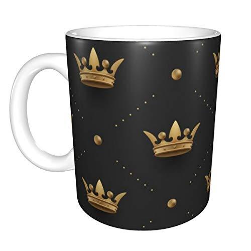 Novelty Coffee Mugs Seamless Gold Pattern With King Crowns On A Dark Black Background 11 oz Ceramic Coffee Tea Cug Mug