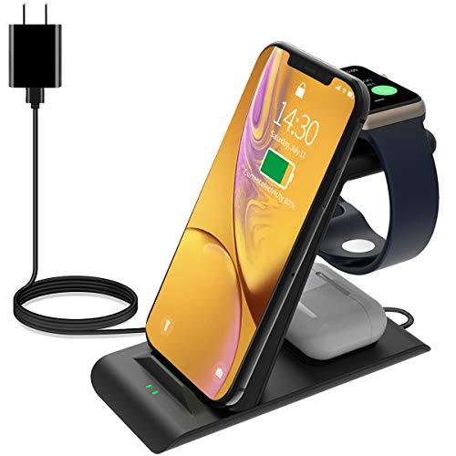 HATALKIN 充電器 3in1 Compatible with iPhone12/12 Pro/12 mini,Apple Watch 充電器,AirPods Pro/2 Qi対応 iPhone アップルウォッチ 充電器スタンド 急速 置くだけ充電 ワイヤレスじゅうでんき(ブラック)
