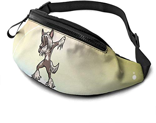 Funny Dabbing Chinese Crested Dog Fashion Casual Waist Bag Fanny Pack Travel Bum Bags Running Pocket For Men Women