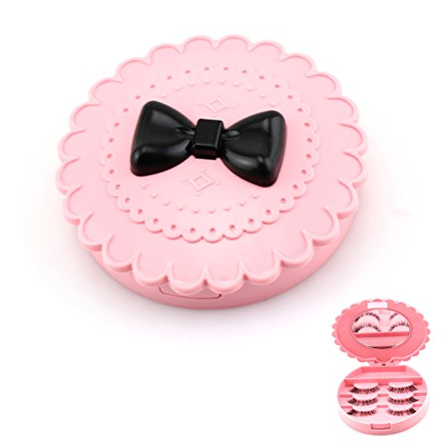 Frcolor Nouvelle boîte de rangement en acrylique Flower Eyelash Makeup Cosmetic Mirror Case Organizer (Pink)