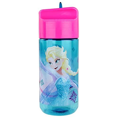 Frozen transparente Trinkflasche mit integriertem Strohhalm