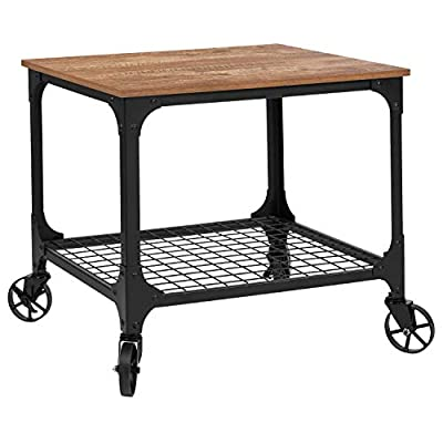 Taylor + Logan Industrial Rustic Wood Grain Kitchen Bar Cart with Wire Rack Bottom