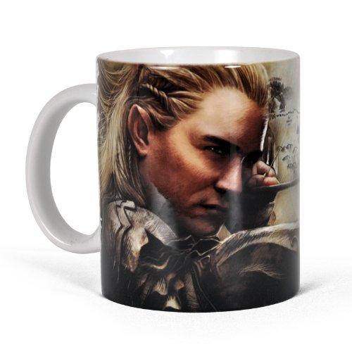 Elbenwald Der Hobbit Tasse Legolas mit Pfeil und Bogen Rundumdruck The Desolation of Smaug Keramik 300 ml beige