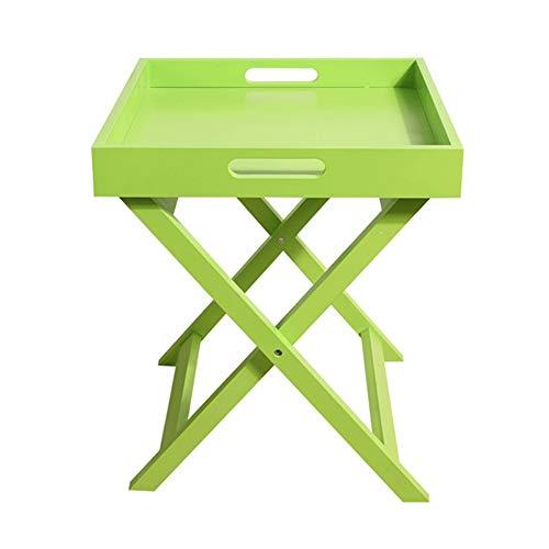 ZHAOYONGL Tavolo,Tavolini da caffè Tavolino Servetto Pieghevole Homestyle Breakfast in Letto con Manico in MDF (Colore : Verde, Dimensioni : 40 * 40 * 46.5cm)