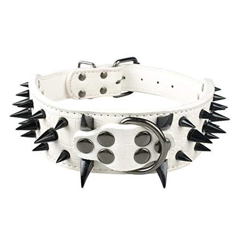 Collar de perro fresco con pinchos de cuero con tachuelas, collares de perro para mascotas, collar de bulldog pitbull, perro para perros medianos grandes, bóxer, pastor alemán, blanco, negro,