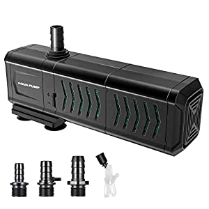 Homasy 530GPH Submersible Pump (2000L/H, 29W), 4-in-1 Fountain Water Pump with Two Percolators Filters, Filtration/Aeration/Wave Generator for Aquariums, Fish Tanks, Ponds, Fountains, Hydroponics