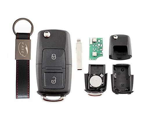 kaser Llave Mando Coche para Volkswagen con Tarjeta Electrónica 2 Botones para VW Skoda Seat Golf Passat Tiguan Polo (433Mhz ID48 Chip) 1JO959753N Transponder con Llavero KASER