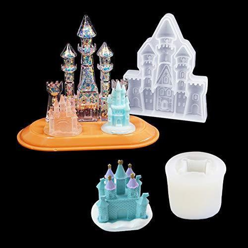 iSuperb 2PCS Silicone Molds for Resin, Gießformen Silikonform für Harz 3D Castle Harzformen von Epoxy Kristal Schlüsselbundformen für Kuchen, Seife, Ton, kreative Dekorationen (2 Schloss)