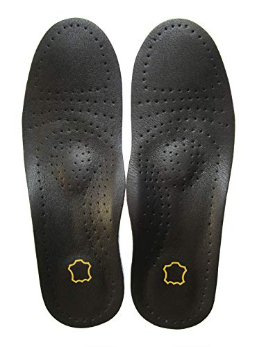 Bellcon Black Leather Insoles for Men Orthotic Insoles for Arch Support Flat Feet Plantar Fasciitis Thin Shoe Liners for Odor Eaters Comfort Cushion Pad for Metatarsal Heel Spurs, Mens 8.5-9 M US
