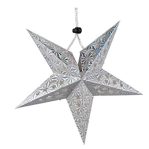 ACAMPTAR Mode Weihnachten Dekor Fuenfstern Lampenschirm Sterne Papierlaterne haengen Hochzeit Zubehoer Silber