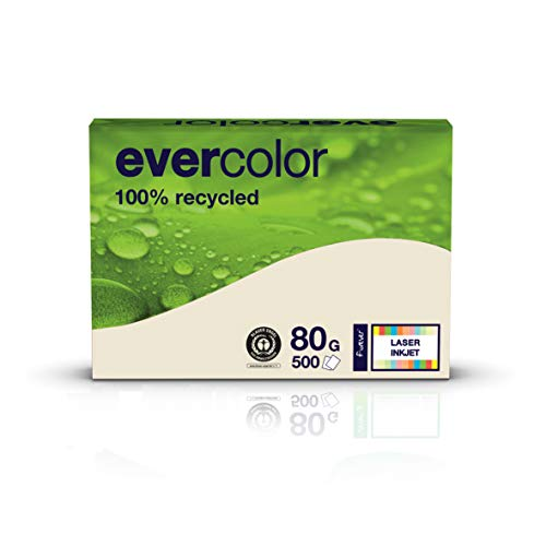 Clairefontaine farbiges Druckerpapier, Recycling-Papier Evercolor: 80 g/m², A4, 500 Blatt, chamois (hell-beige), 22903127