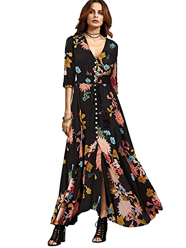 Milumia Women's Button Up Split Floral Print Flowy Party Maxi Dress Black and Red Medium