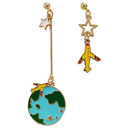 QYMX Orecchini Donna, Gioielli di Marca Orecchini Orecchini Metallici Multicolori Aerei e Elementi di Terra Design per Le Donne