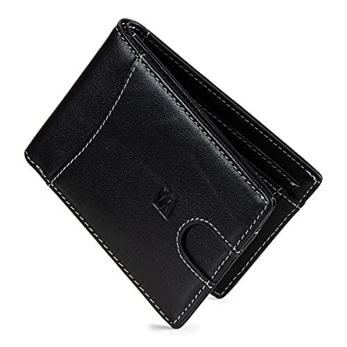 SERASAR   Premium Wallet für Herren in schwarz aus Echtleder   11 Kartenfächer   Wahlweise mit/ohne Münzfach   RFID-Schutz   Geldscheinfach   Exklusive Geschenkschachtel   Tolle Geschenkidee