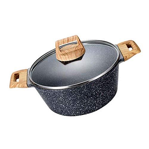 Profesional Seguro Ollas Soperas Sopa de olla de piedra-Derivado antiadherente-Coating cazuela con tapa, anti-deformación no utensilios de cocina gratuito, compatible con la inducción, los hogares de