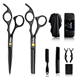 Sirabe 10 Pcs Hair Cutting Scissors Set, Professional Haircut Scissors Kit with Cutting Scissors,Thinning Scissors, Comb,Cape, Clips, Black Hairdressing Shears Set for Barber, Salon, Home