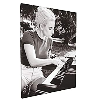 SEENPIN Canvas Wall Art Painting L-a-d-y G-a-g-a Joanne Piano Photo Prints-Cotton Decor Framed Ready to Hang for Office Home Decoration