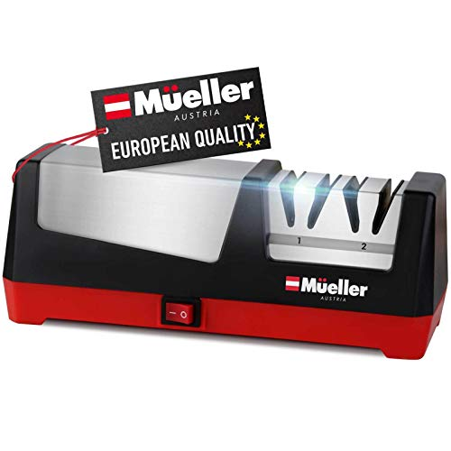 Mueller Professional Electric Knife Sharpener for Straight Knives Diamond Abrasives, Quickly Sharpening, Repair/Restore/Polish Blades