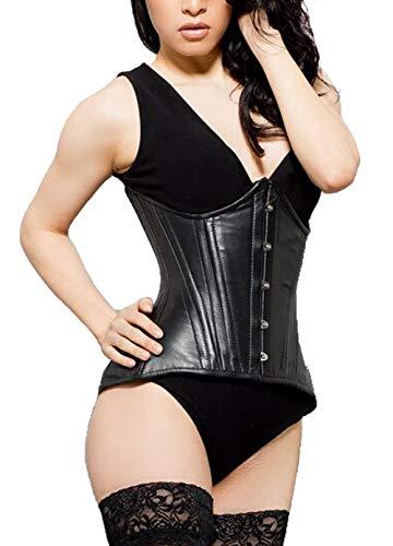 schwarz Leder unter der Brust Edwardianischer Korsett emeera Gr. 66 cm, schwarz