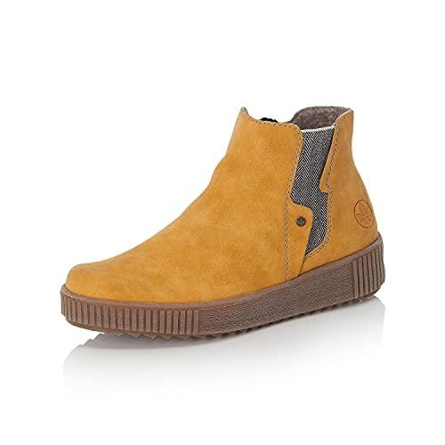 Rieker Damen Chelsea Boots Y6461, Frauen Stiefeletten,Stiefel,Bootee,Booties,halbstiefel,Kurzstiefel,uebergangsschuhe,gelb (68),39 EU / 6 UK