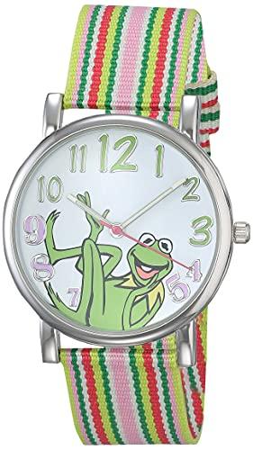 Muppets Women's MU1010 Reloj para Mujer de la Rana René con Correa de Rayas Multi Color