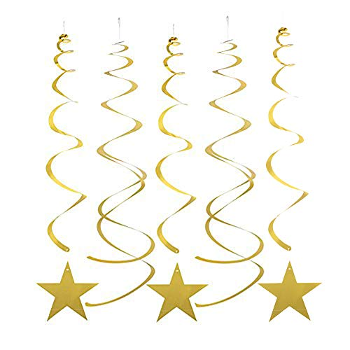 MOWO Gold Star Hanging Swirl Decorations for Ceiling, Pack of 30