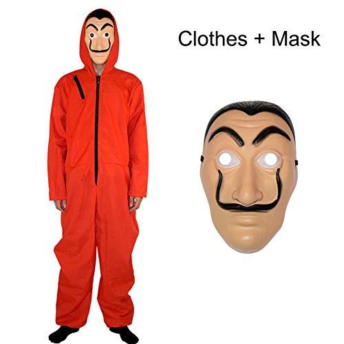 Yigoo Haus des Geldes Kostüm Overall mit Dali Maske Cosplay für Herren, Damen Erwachsene - Fasching, Karneval, Halloween Rot 2XL
