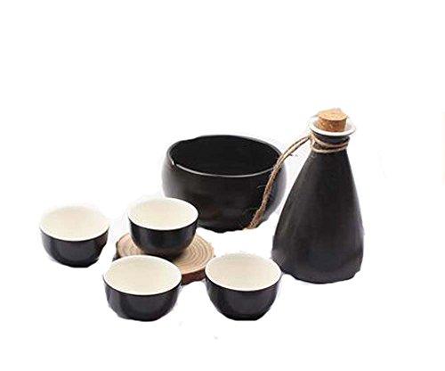 BLANCHO BEDDING Juego de 6 Vasos de Vaso de Sake de Vaso de Vaso Ancho de Estilo japonés, Todo Negro