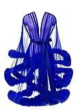 Lamosi Sexy Feather Robe Illusion Fur Trim Boudoir Robe Nightgown Bathrobe Bridal Lingerie Wedding Scarf Royal Blue Size XXLarge