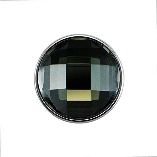 Quiges Damen Click Button 18mm Chunk Versilbert Dunkelgrün Geschliffen für Druckknopf Zubehör
