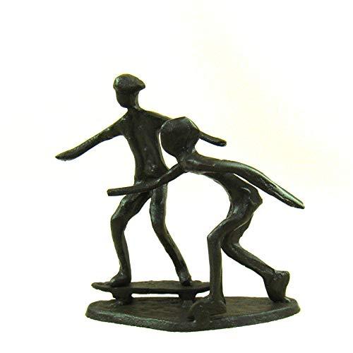 FANLLOOD Statue Kreative Gusseisen Rollschuh Miniatur handgefertigte Metall Skateboarder Figur Sport Dekor Geschenk Handwerk Handwerk Ornament Zubehör, Schokolade