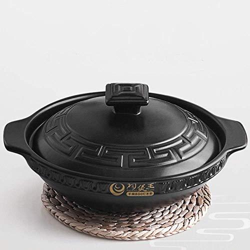 Pentola per Zuppe con Coperchio, Pentole per Stufati E Brasati Casseruola in Ceramica Terracotta, Non Tossico - Diametro 25-26 Cm, Casseruola Piccola 1-1,6 Litri, Nero-1,1 L