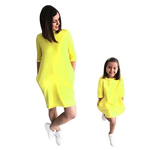 LUCKDE Mutter und Tochter Kleid, Partnerlook Familie Shirtkleid Strandkleid Summer Dress Freizeitkleid Mädchen Kleider Damen Baby Outfit Mädchen Matching Familien Kleidung (M, Mutter)