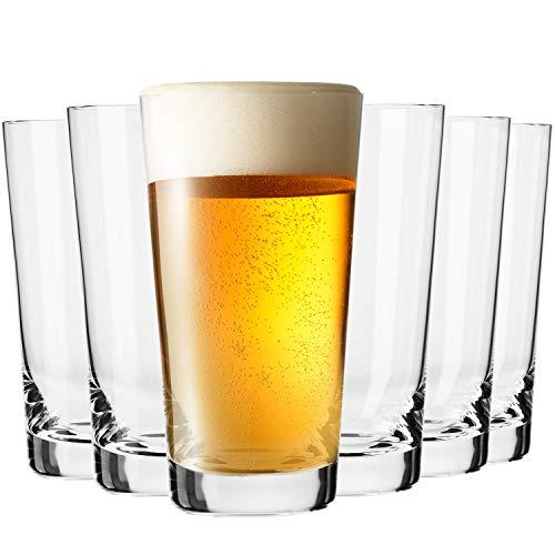 Krosno Hoch Weizengläser Biergläser | Set von 6 | 530 ML | Pure Kollektion | Perfekt für Zuhause, Restaurants und Partys | Spülmaschinenfest