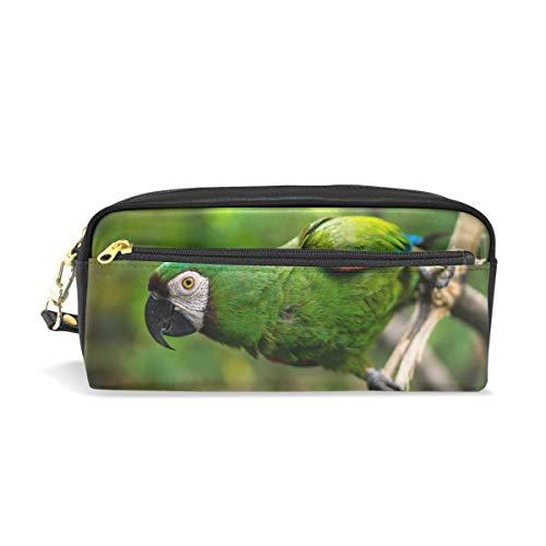 Estuche para lápices, diseño de pájaro exótico de Guacamaya, con compartimentos para la escuela, estudiante, bolsa de cosméticos de piel