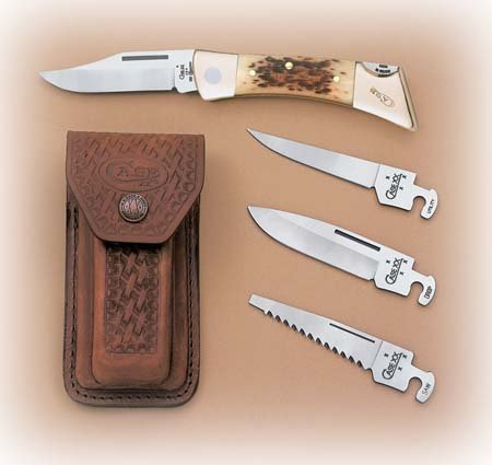 Case  Amber Bone XX-Changer Pocket Knife Amber Peach Seed Jigged Bone