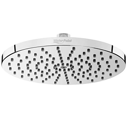 8 Inch Rainfall Shower Head by WaterPoint - Large High Pressure Water Saving Showerhead - Brass Swivel Ball and Polished Chrome Finish
