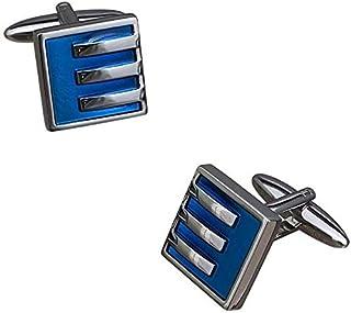 blue and chrome cufflink from renato landini