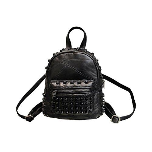 LUOEM Nieten Rucksack Leder Mini Schultasche Handtaschen Daypack für Damen Mädchen (Schwarz)