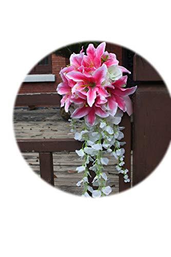 ZT-shop Weiße Lilien-Wasserfall-Hochzeit Blumenstrauß Teardrop Romantische Lange Brautstrauß Braut Rosen Künstliche Blumen Pink, pink