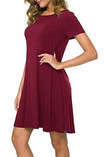 Falechay Kleid Damen Sommerkleid Tunika Freizeitkleid Atmungsaktives Rundhals Kurzarm Knielang T-Shirtkleid,Weinrot,M